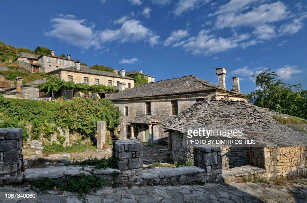 traditional houses at ano pedina(soudena) zagori villages - epirus greece stock pictures, royalty-free photos & images