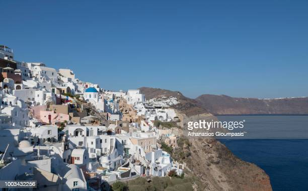 Traditional houses at Oia caldera with views to the sea caldera and volcano on July 16 2018 in Santorini Greece