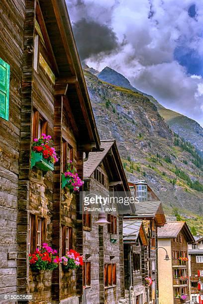 traditional houses at zermatt - zermatt stock pictures, royalty-free photos & images