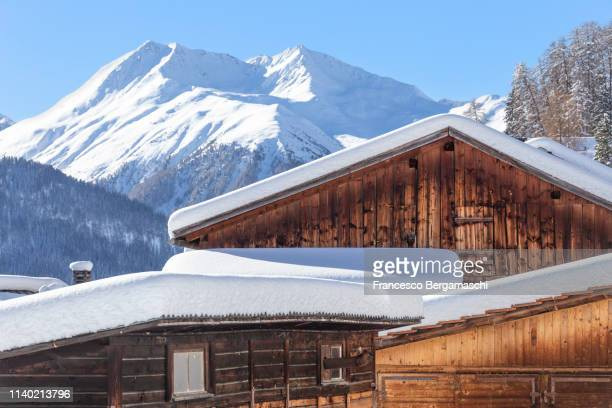 traditional houses in winter. ftan, lower engadine, canton of grisons, switzerland, europe. - chalet de montagne photos et images de collection