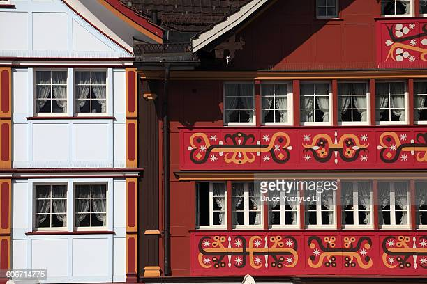 Traditional houses with painted facade