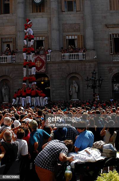 traditional human towers (castellers) - castellers stock photos and pictures