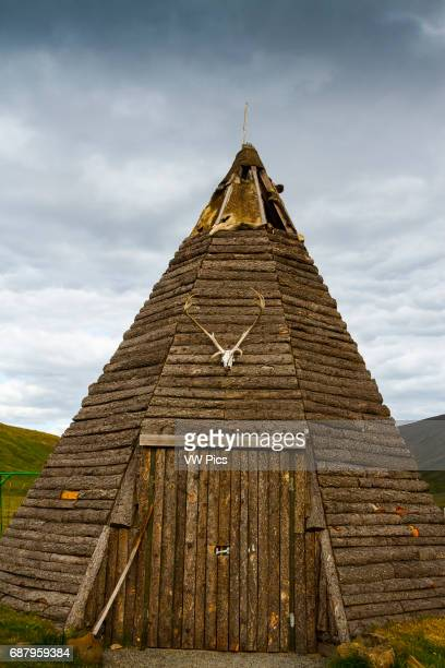 Traditional hut with a reindeer antlers Iceland