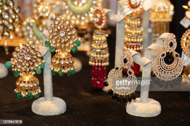 Traditional Indian earrings seen during the Lavish Dulhan bridal show in Toronto Ontario Canada The show offered those in the South Asian wedding...