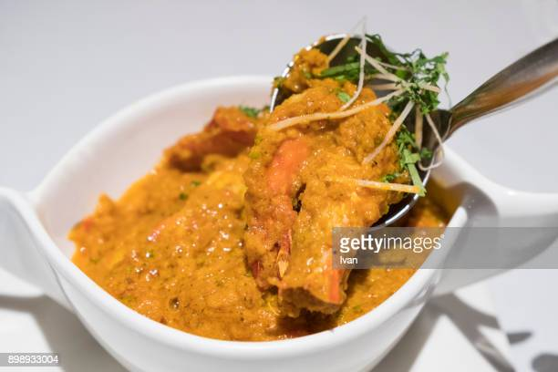 Traditional Indian Food, Malabar seafood shrimp curry with lime pickle