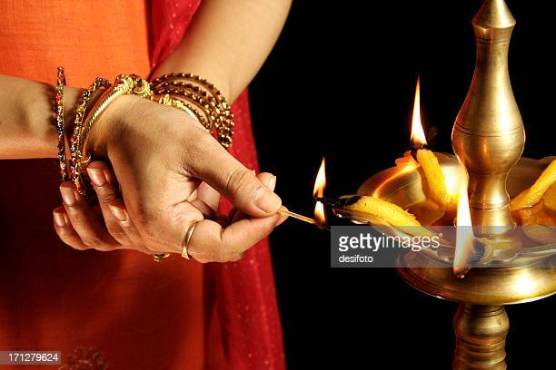 traditional indian inauguration - diya oil lamp stock pictures, royalty-free photos & images