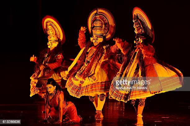 Traditional Indian Kathakali dancers from the South Indian state of Kerala perform during a showcasing of the revived epic classical dance opera...