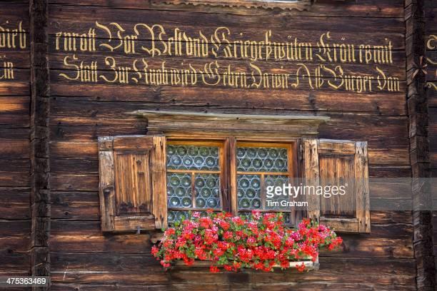 Traditional inscription on 18th Century Swiss house built 1741 in Serneus near Klosters Graubunden region Switzerland
