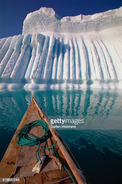 Traditional Inuit Kayak by Icebergs