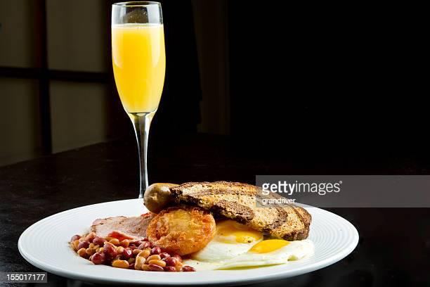 Traditional Irish Breakfast with Mimosa