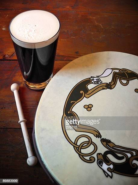 Traditional Irish Scene with Bodhran Drum and Pint Of Stout