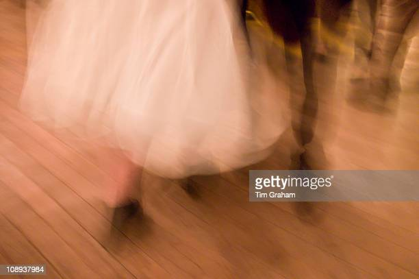 Traditional Irish set dancing at a Ceilidh at Vaughan's Bar in Kilfenora County Clare West of Ireland