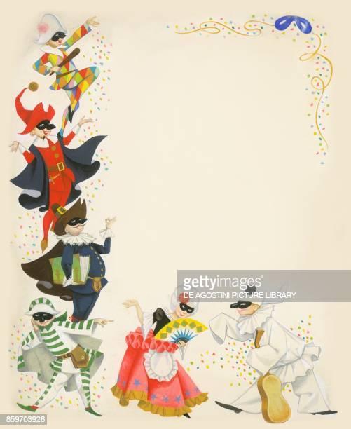 Traditional Italian carnival masks counterclockwise from top Harlequin Pantalone Il Dottore Brighella Columbina Pulcinella children's illustration...