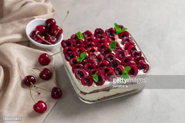 traditional italian dessert tiramisu with cherries and mascarpone - mascarpone cheese stock pictures, royalty-free photos & images