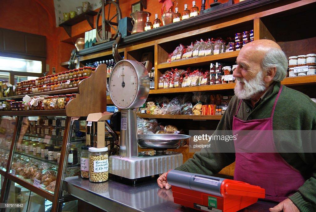 Traditional Italian food store : Stock Photo