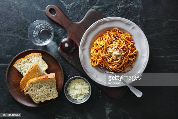 traditional italian meal spaghetti alla bolognese - bolognese sauce stock pictures, royalty-free photos & images