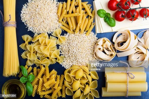 Traditional Italian pasta shapes background