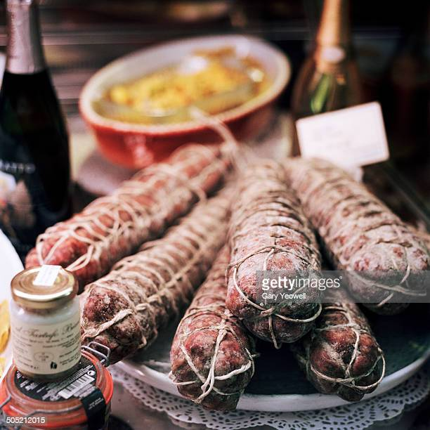 Traditional Italian Sausage in shop display