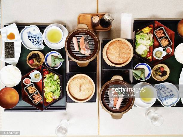 Traditional Japanese breakfast served for two people in a traditional ryokan