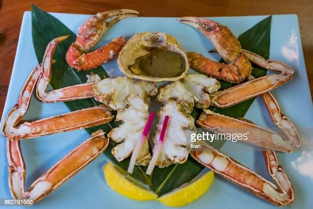 Traditional Japanese Cuisine, Grilled, Roasted Taraba sea crabs or alaska king crab