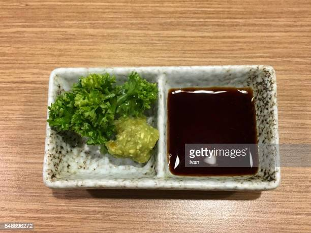 traditional japanese cuisine, soy sauce and wasabi - soy sauce stock photos and pictures