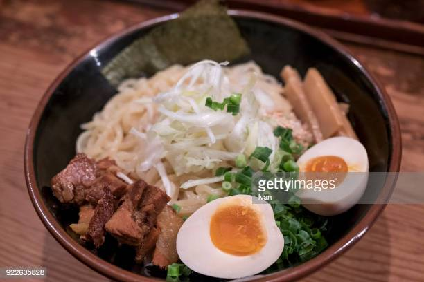 Traditional Japanese Food, Dry Ramen with noodles, beef and egg,