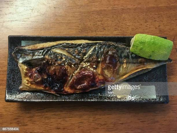 Traditional Japanese Food, Roasted Grilled Mackerel Served In Plate On Table