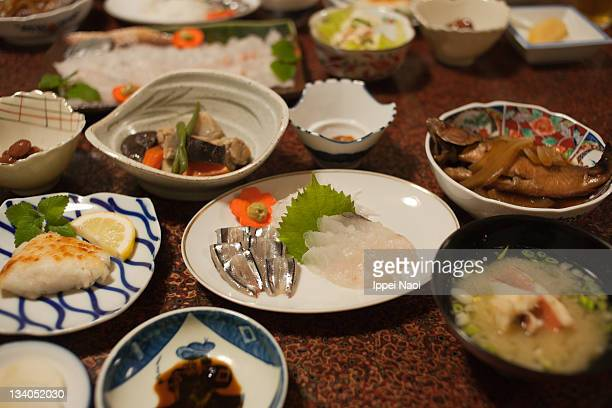 Traditional japanese home style dinner