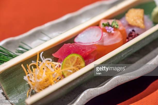 traditional japanese kaiseki cuisine, sashimi plate - 旅館 ストックフォトと画像