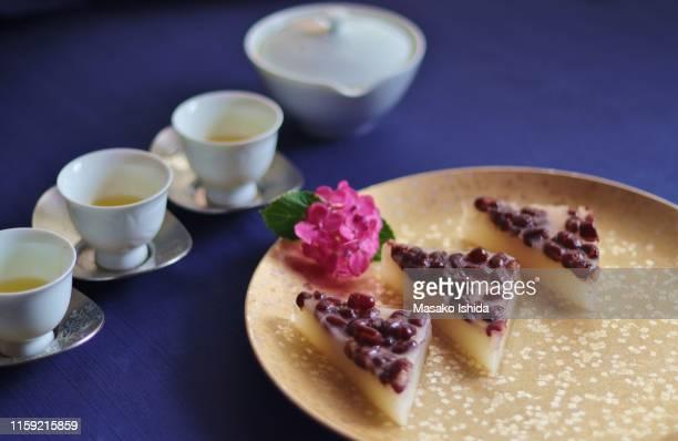 traditional japanese summer sweets(wagashi ) - minazuki - 和菓子 ストックフォトと画像