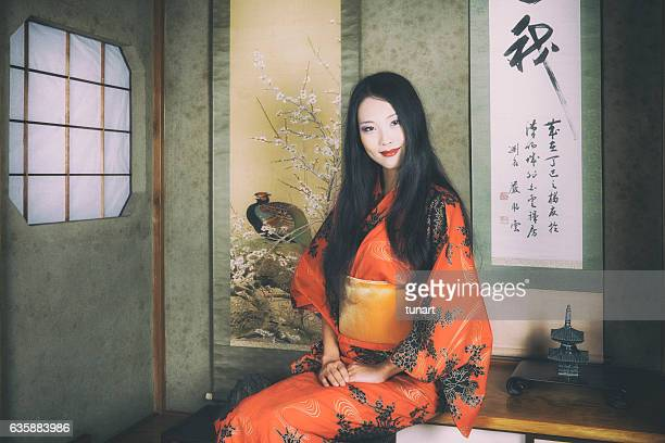 Traditional Japanese Woman in an Old Japanese House