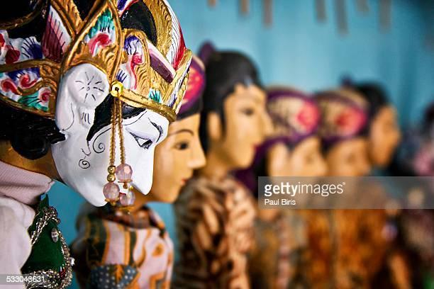 traditional javanese puppet wayang golek - shadow puppet stockfoto's en -beelden