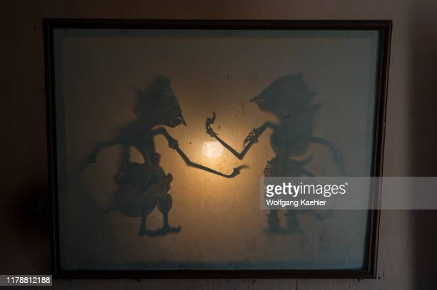 Traditional Javanese wayang kulit made out of leather in Yogyakarta Java Indonesia