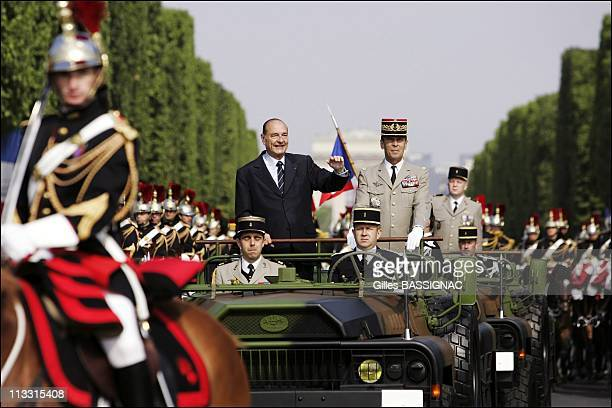 Traditional July 14/Bastille Day Military Parade On Champs Elysees Avenue Paris On July 14Th 2006 In Paris France Here Jacques Chirac