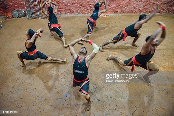 Traditional kallaripayattu martial arts practicioners in Kerala, India