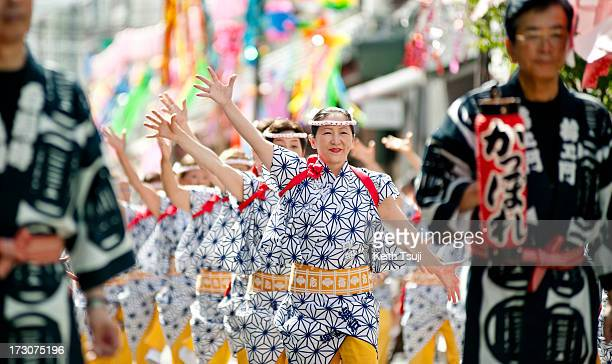 Traditional Kappore dancers perform at the Tanabata festival on July 6 2013 in Tokyo Japan Tanabata is a Japanese star festival where people dress in...
