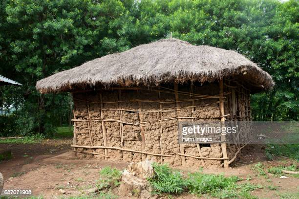 Traditional Kenyan home made from md with a thatched hut Kenya