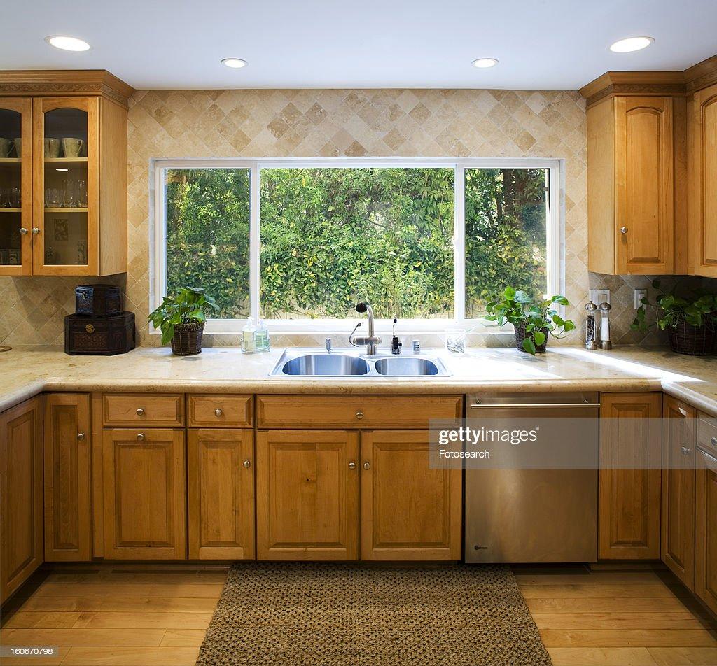 Traditional Kitchen Floor Tiles: Traditional Kitchen With Hardwood Floors Stock Photo