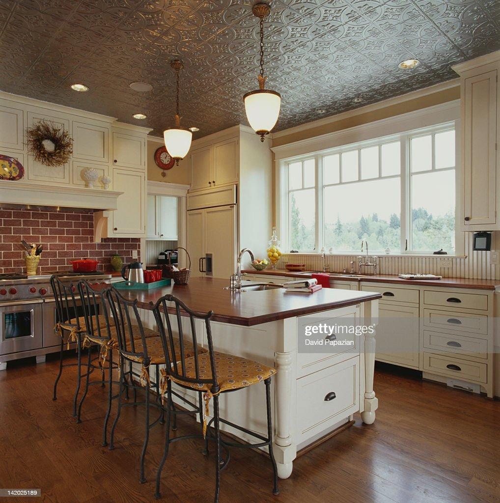 Traditional Kitchen with Pressed Tin Ceiling : Stock Photo