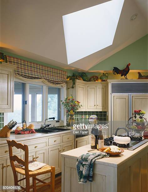 Traditional Kitchen with Skylight
