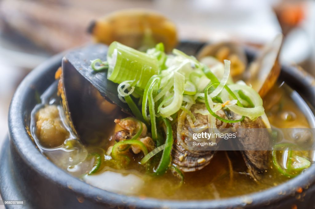 Traditional Korean seafood stew : Stock Photo