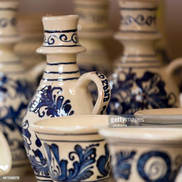 Traditional Korond (Corund) style ceramics at a market in Transylvania