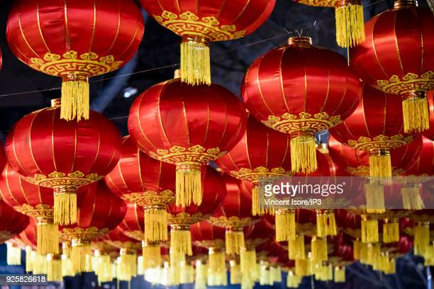 Traditional lanterns in a Hutong district on the occasion of Chinese New Year on February 17, 2018 in Beijing, China. Since 16 February 2018, the...