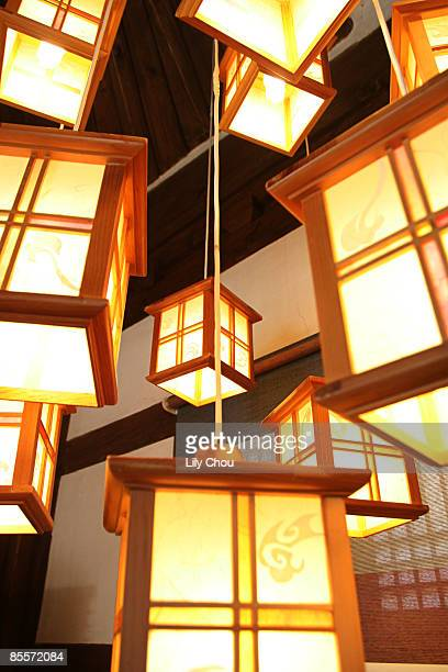 traditional lanterns - jeonju stock photos and pictures