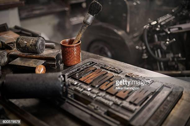 Traditional letterpress tools