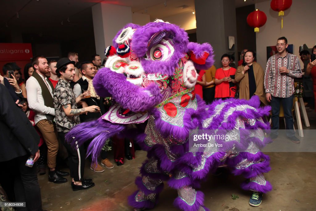 A traditional Lion Dance performance at the New York Chinese New Year Celebration at Calligaris SoHo on February 13, 2018 in New York City.