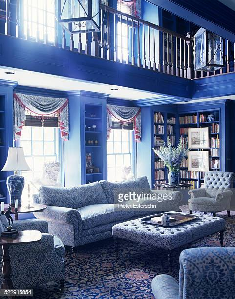traditional living room in vivid blue - image stock pictures, royalty-free photos & images