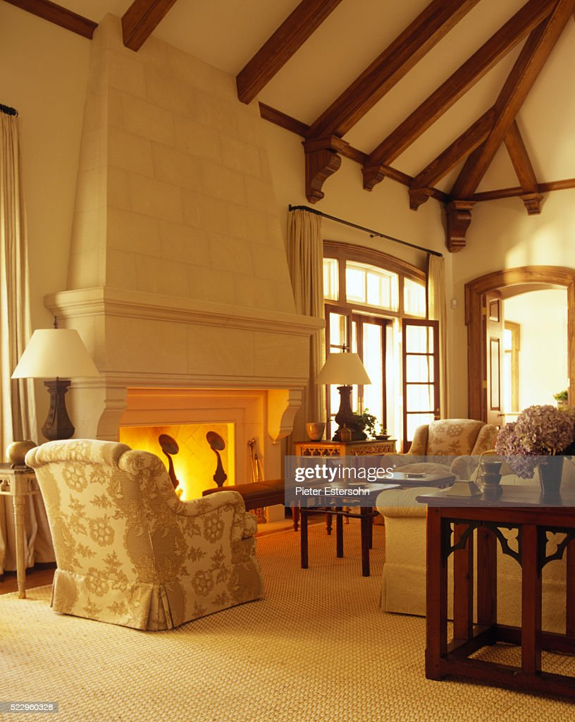 Traditional Living Room With Stone Fireplace And Vaulted