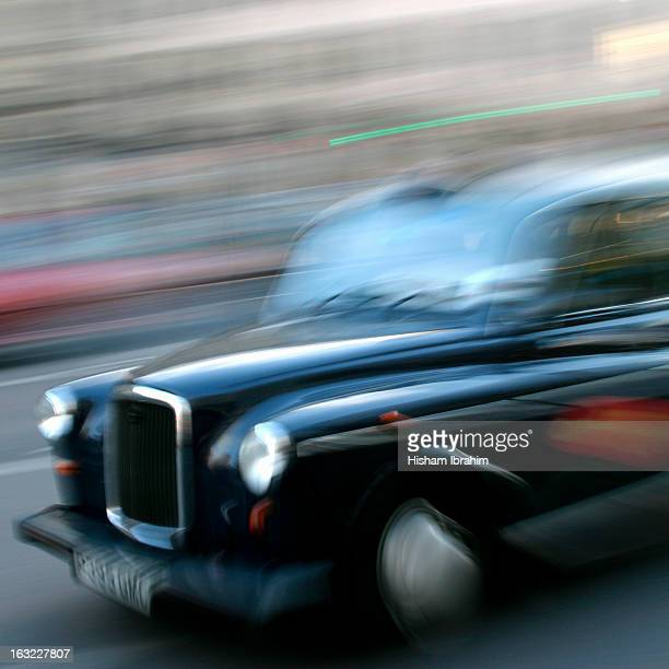 Traditional London black taxi cab