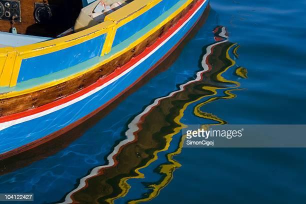 traditional maltese boat luzzu - marsaxlokk stock pictures, royalty-free photos & images